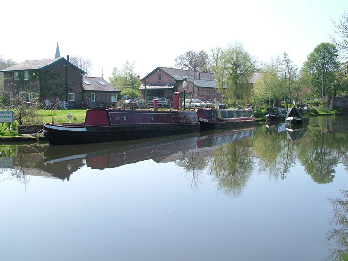 Boats moored at Oughtrington