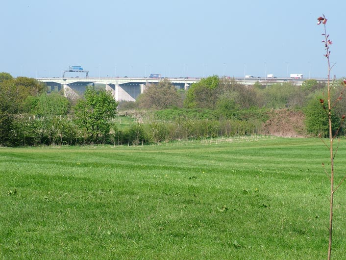 View towards the Thelwall viaduct