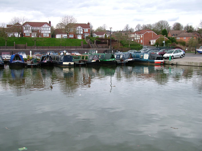 Lots of boats moored by the Moorings pub